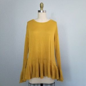 Cremieux mustard bell sleeve sweater